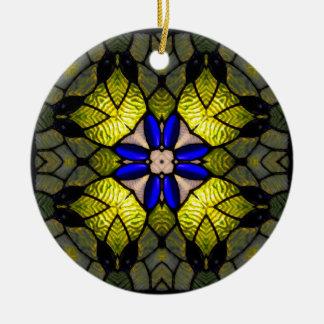 Blue Glass Flower Ceramic Ornament