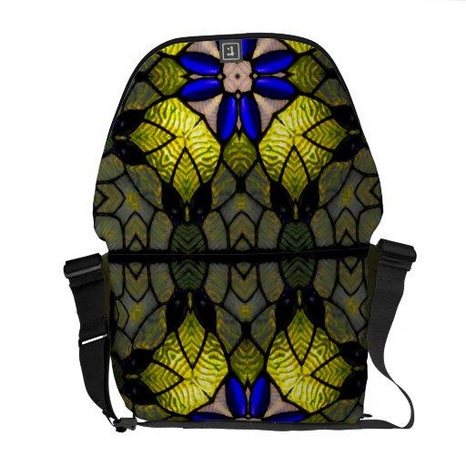 Blue Glass Flower Messenger Bag
