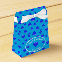 Blue Glass Heart Customizable Favor Box