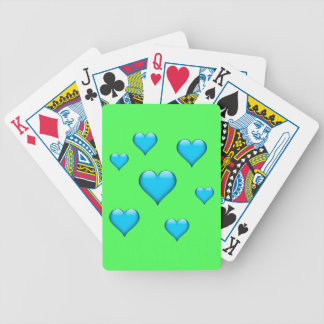 Blue Glass Heart Tiled Customizable Bicycle Playing Cards