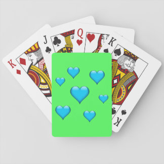 Blue Glass Heart Tiled Customizable Playing Cards