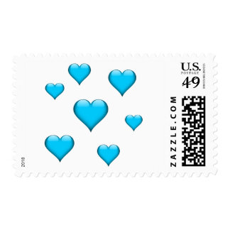 Blue Glass Heart Tiled Customizable Postage