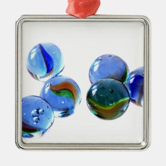Blue Glass Images Metal Ornament