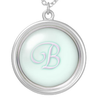 Blue Glass Monogram Necklace - letter B