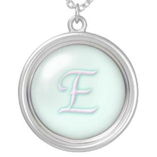 Blue Glass Monogram Necklace - letter E