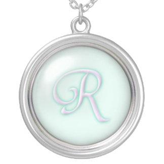 Blue Glass Monogram Necklace - letter R
