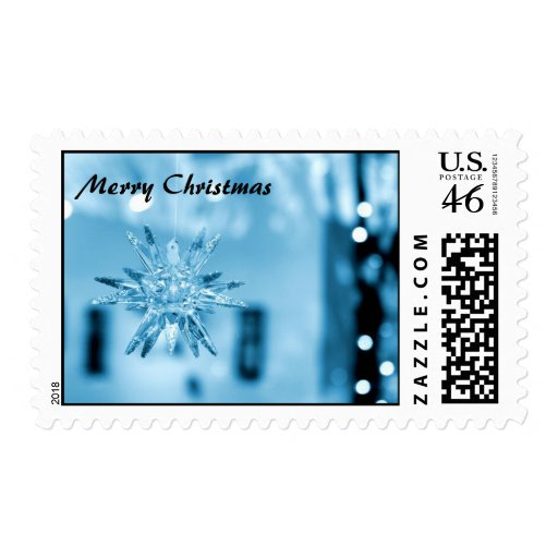 Blue Glass Ornament Postage Stamps