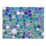 Blue Glass Pebble Mosaic Postcard