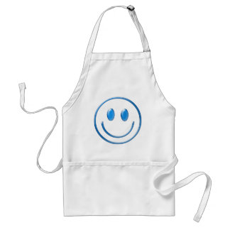 Blue Glass Smiley Face Adult Apron