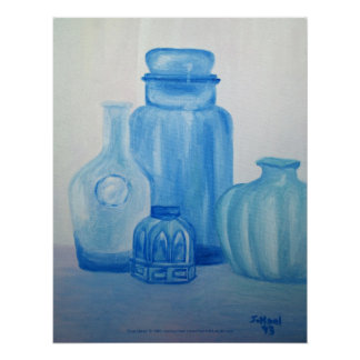 Blue Glass Still Life Print