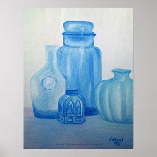 Blue Glass Still Life Print