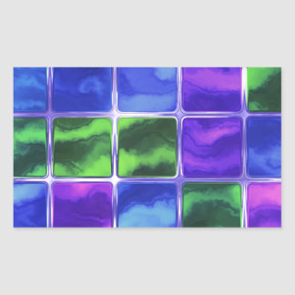 Blue glass tiles rectangular sticker