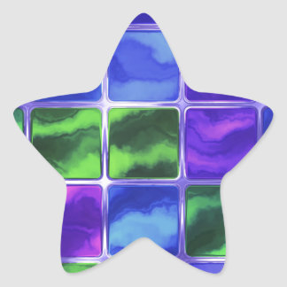 Blue glass tiles star sticker