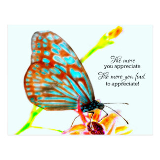 Blue Glassy Butterfly - The more you appreciate Postcard