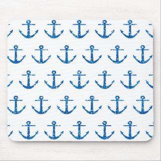 Blue Glitter Anchor Pattern Mousepad
