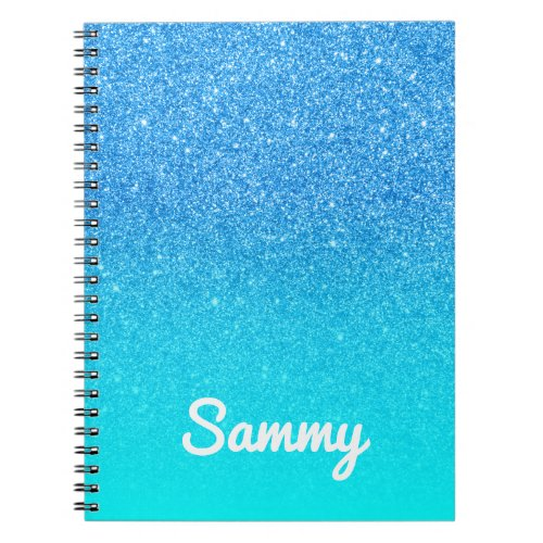 Blue Glitter and Aqua Ombre Personalized Notebook