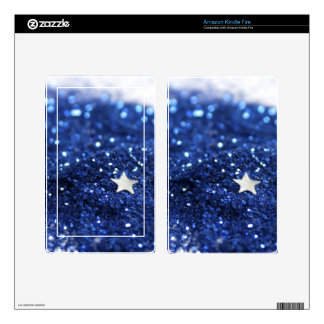 Blue Glitter and Star Skins For Kindle Fire