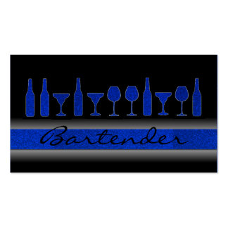 Blue glitter bartender drinks business card