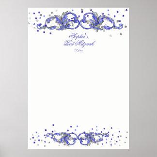 Blue Glitter, Bat Mitzvah, Custom, Sign in