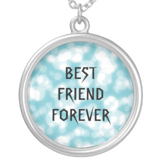 Blue Glitter Best Friends Forever Round Pendant Necklace