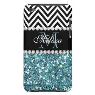 BLUE GLITTER BLACK CHEVRON MONOGRAMMED iPod TOUCH COVER