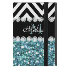 Blue Glitter Black Chevron Monogrammed Covers For Ipad Mini at Zazzle