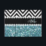 "BLUE GLITTER BLACK CHEVRON MONOGRAMMED iPad MINI COVER<br><div class=""desc"">GIRLY LIGHT BLUE GLITTER (PRINTED EFFECT) WITH BLACK AND WHITE CHEVRON PATTERN,  MONOGRAMMED WITH YOUR NAME,  YOUR INITIAL OR MONOGRAM ON A BLACK STRIPE OR BAND WITH A BORDER OF PRINTED WHITE DIAMONDS. TRENDY,  CHIC COOL CUTE DESIGN FOR HER,  THE TRENDSETTER,  THE FASHIONISTA</div>"