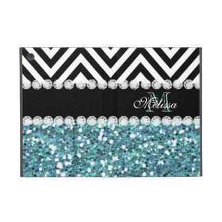 BLUE GLITTER BLACK CHEVRON MONOGRAMMED iPad MINI COVER