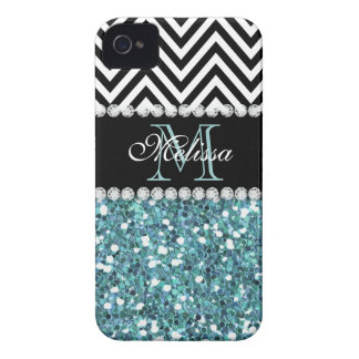 BLUE GLITTER BLACK CHEVRON MONOGRAMMED iPhone 4 Case-Mate CASE