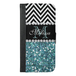 BLUE GLITTER BLACK CHEVRON MONOGRAMMED iPhone 6/6S PLUS WALLET CASE