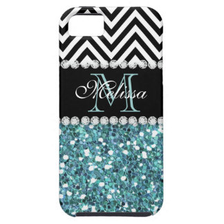 BLUE GLITTER BLACK CHEVRON MONOGRAMMED iPhone SE/5/5s CASE