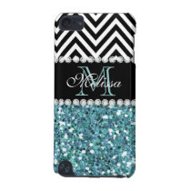 BLUE GLITTER BLACK CHEVRON MONOGRAMMED iPod TOUCH 5G COVER