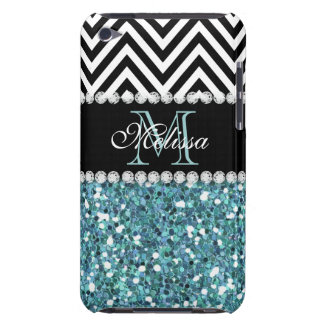 BLUE GLITTER BLACK CHEVRON MONOGRAMMED iPod TOUCH Case-Mate CASE