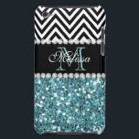 "BLUE GLITTER BLACK CHEVRON MONOGRAMMED iPod TOUCH COVER<br><div class=""desc"">GIRLY LIGHT BLUE GLITTER (PRINTED EFFECT) WITH BLACK AND WHITE CHEVRON PATTERN,  MONOGRAMMED WITH YOUR NAME,  YOUR INITIAL OR MONOGRAM ON A BLACK STRIPE OR BAND WITH A BORDER OF PRINTED WHITE DIAMONDS. TRENDY,  CHIC COOL CUTE DESIGN FOR HER,  THE TRENDSETTER,  THE FASHIONISTA</div>"