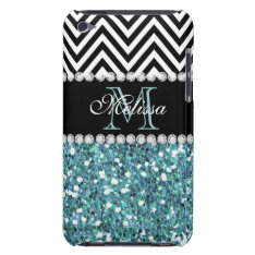 BLUE GLITTER BLACK CHEVRON MONOGRAMMED iPod TOUCH COVER at Zazzle