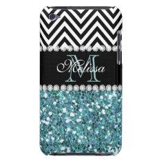 Blue Glitter Black Chevron Monogrammed Ipod Touch Cover at Zazzle