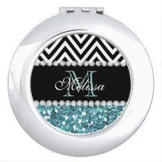 Blue Glitter Black Chevron Monogrammed Mirror For Makeup at Zazzle
