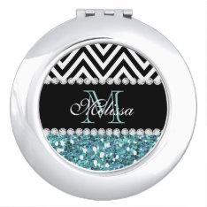 Blue Glitter Black Chevron Monogrammed Mirror For Makeup at Zazzle