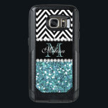 "BLUE GLITTER BLACK CHEVRON MONOGRAMMED OtterBox SAMSUNG GALAXY S7 CASE<br><div class=""desc"">GIRLY LIGHT BLUE GLITTER (PRINTED EFFECT) WITH BLACK AND WHITE CHEVRON PATTERN,  MONOGRAMMED WITH YOUR NAME,  YOUR INITIAL OR MONOGRAM ON A BLACK STRIPE OR BAND WITH A BORDER OF PRINTED WHITE DIAMONDS. TRENDY,  CHIC COOL CUTE DESIGN FOR HER,  THE TRENDSETTER,  THE FASHIONISTA</div>"