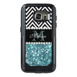 BLUE GLITTER BLACK CHEVRON MONOGRAMMED OtterBox SAMSUNG GALAXY S7 CASE<br><div class='desc'>GIRLY LIGHT BLUE GLITTER (PRINTED EFFECT) WITH BLACK AND WHITE CHEVRON PATTERN,  MONOGRAMMED WITH YOUR NAME,  YOUR INITIAL OR MONOGRAM ON A BLACK STRIPE OR BAND WITH A BORDER OF PRINTED WHITE DIAMONDS. TRENDY,  CHIC COOL CUTE DESIGN FOR HER,  THE TRENDSETTER,  THE FASHIONISTA</div>