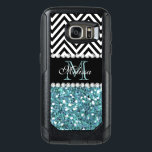 """BLUE GLITTER BLACK CHEVRON MONOGRAMMED OtterBox SAMSUNG GALAXY S7 CASE<br><div class=""""desc"""">GIRLY LIGHT BLUE GLITTER (PRINTED EFFECT) WITH BLACK AND WHITE CHEVRON PATTERN,  MONOGRAMMED WITH YOUR NAME,  YOUR INITIAL OR MONOGRAM ON A BLACK STRIPE OR BAND WITH A BORDER OF PRINTED WHITE DIAMONDS. TRENDY,  CHIC COOL CUTE DESIGN FOR HER,  THE TRENDSETTER,  THE FASHIONISTA</div>"""