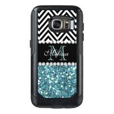 Blue Glitter Black Chevron Monogrammed Otterbox Samsung Galaxy S7 Case at Zazzle