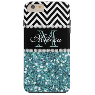 BLUE GLITTER BLACK CHEVRON MONOGRAMMED TOUGH iPhone 6 PLUS CASE