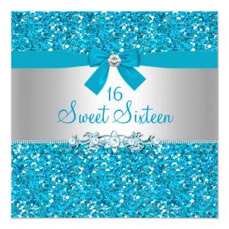 Blue Glitter & Bow Sweet Sixteen Invite