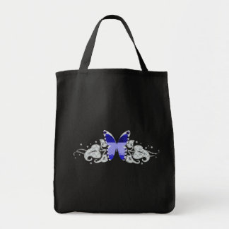 blue glitter butterfly tote bag
