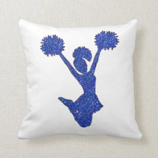 Blue Glitter Cheerleader Throw Pillow