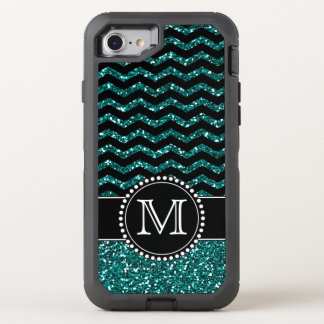 Blue Glitter Chevron Monogrammed Defender OtterBox Defender iPhone 7 Case