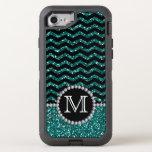 Blue Glitter Chevron Monogrammed Defender Otterbox Defender Iphone 8/7 Case at Zazzle