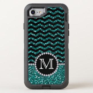 Blue Glitter Chevron Monogrammed Defender OtterBox Defender iPhone 8/7 Case
