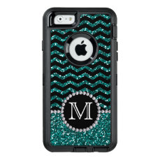 Blue Glitter Chevron Monogrammed Defender OtterBox Defender iPhone Case